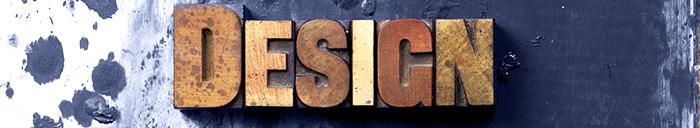 The worddesign written in antique letterpress printing blocks.